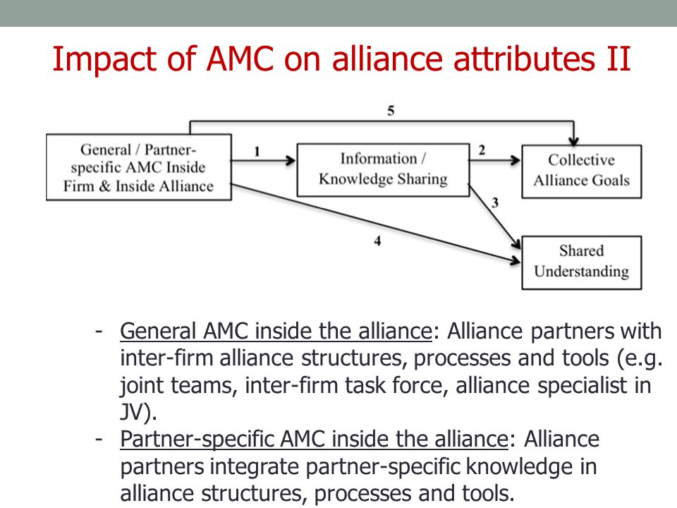 Impact of AMC on alliance attributes II