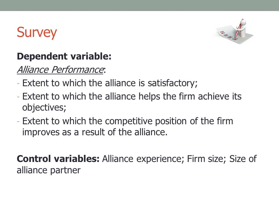 Survey Dependent variable: Alliance Performance: