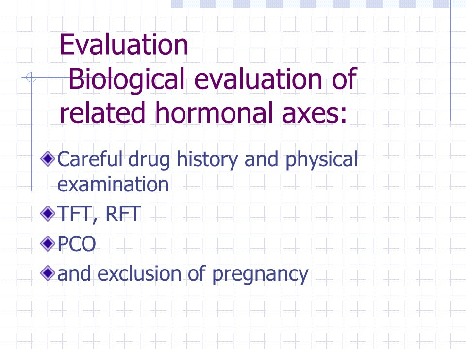 Evaluation Biological evaluation of related hormonal axes: