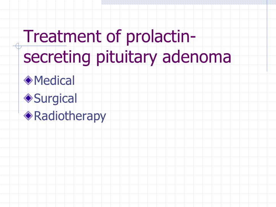 Treatment of prolactin-secreting pituitary adenoma