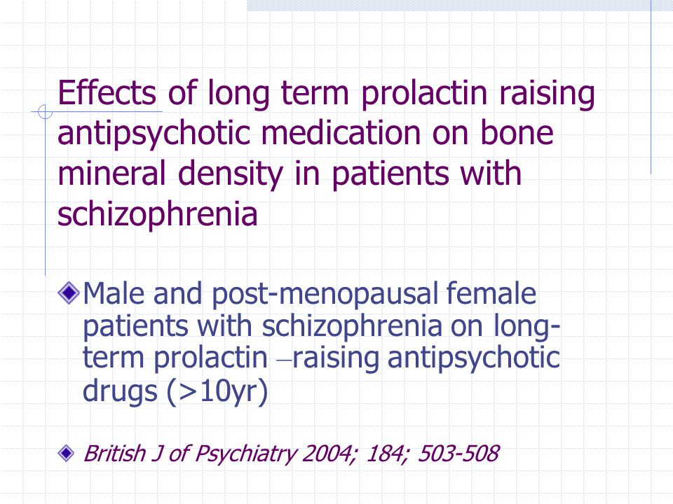 Effects of long term prolactin raising antipsychotic medication on bone mineral density in patients with schizophrenia