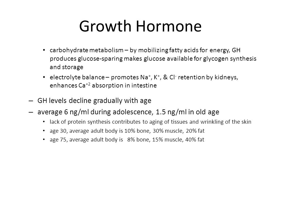 Growth Hormone GH levels decline gradually with age