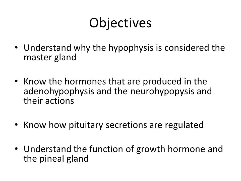 Objectives Understand why the hypophysis is considered the master gland.