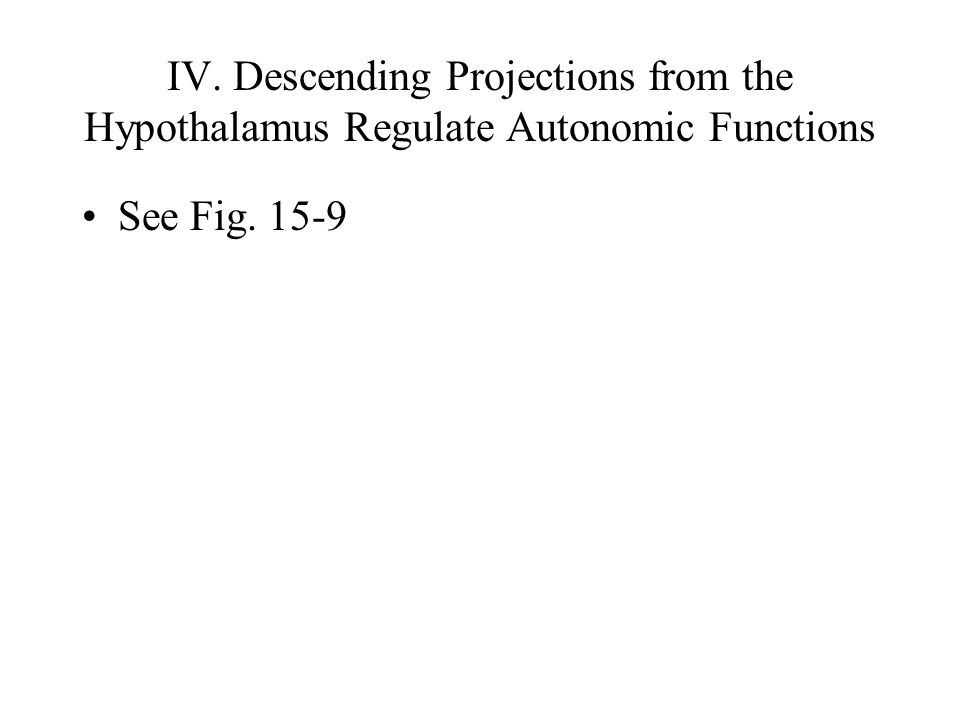 IV. Descending Projections from the Hypothalamus Regulate Autonomic Functions