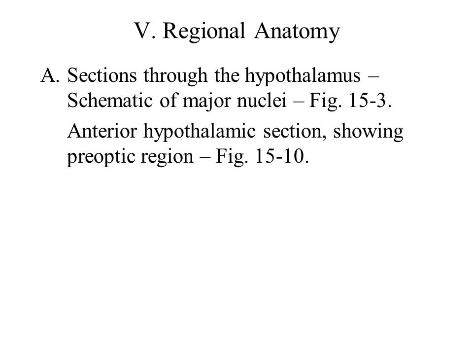 V. Regional Anatomy Sections through the hypothalamus – Schematic of major nuclei – Fig. 15-3.