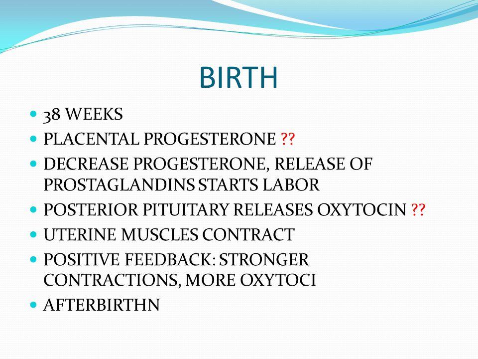 BIRTH 38 WEEKS PLACENTAL PROGESTERONE