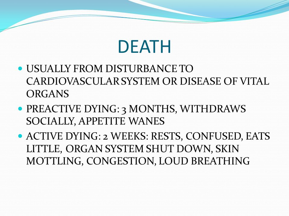 DEATH USUALLY FROM DISTURBANCE TO CARDIOVASCULAR SYSTEM OR DISEASE OF VITAL ORGANS. PREACTIVE DYING: 3 MONTHS, WITHDRAWS SOCIALLY, APPETITE WANES.