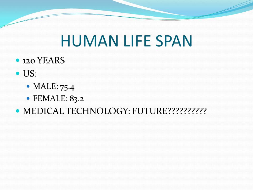 HUMAN LIFE SPAN 120 YEARS US: MEDICAL TECHNOLOGY: FUTURE