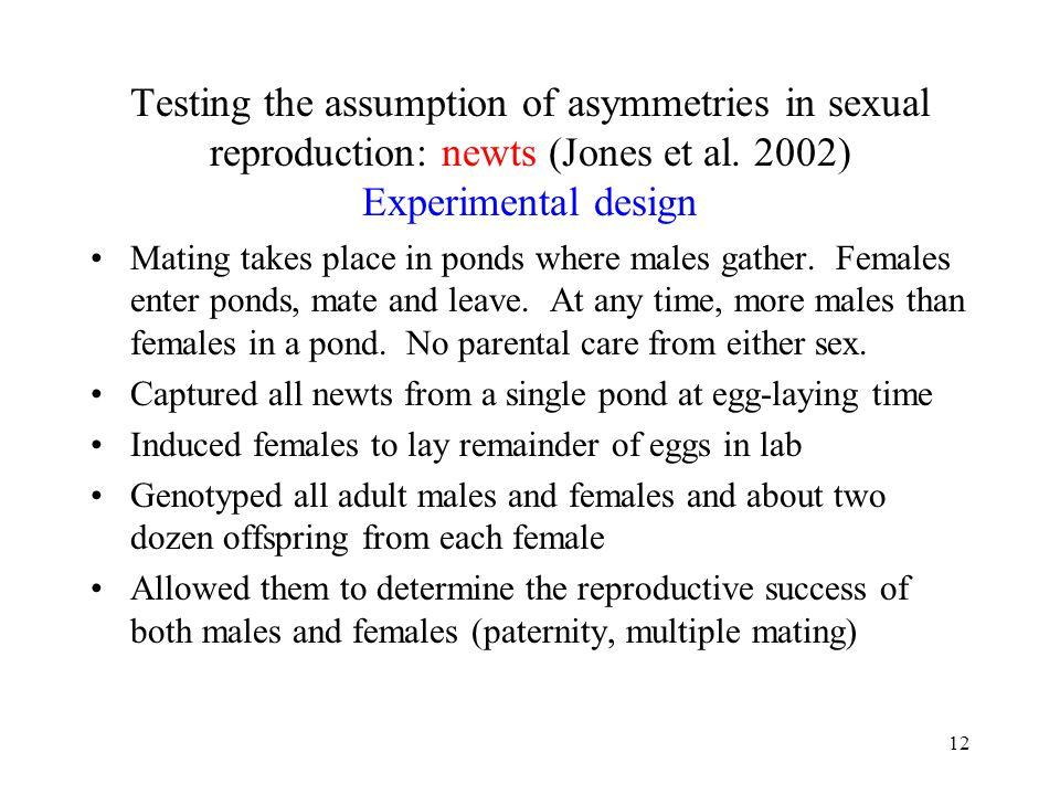 Testing the assumption of asymmetries in sexual reproduction: newts (Jones et al. 2002) Experimental design