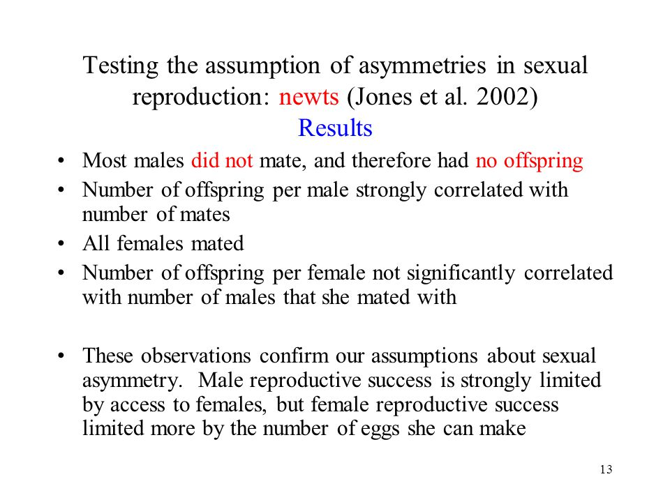 Testing the assumption of asymmetries in sexual reproduction: newts (Jones et al. 2002) Results