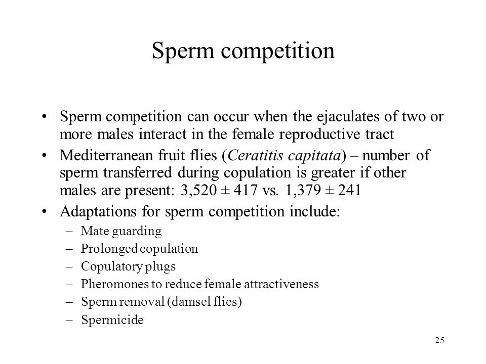 Sperm competition Sperm competition can occur when the ejaculates of two or more males interact in the female reproductive tract.