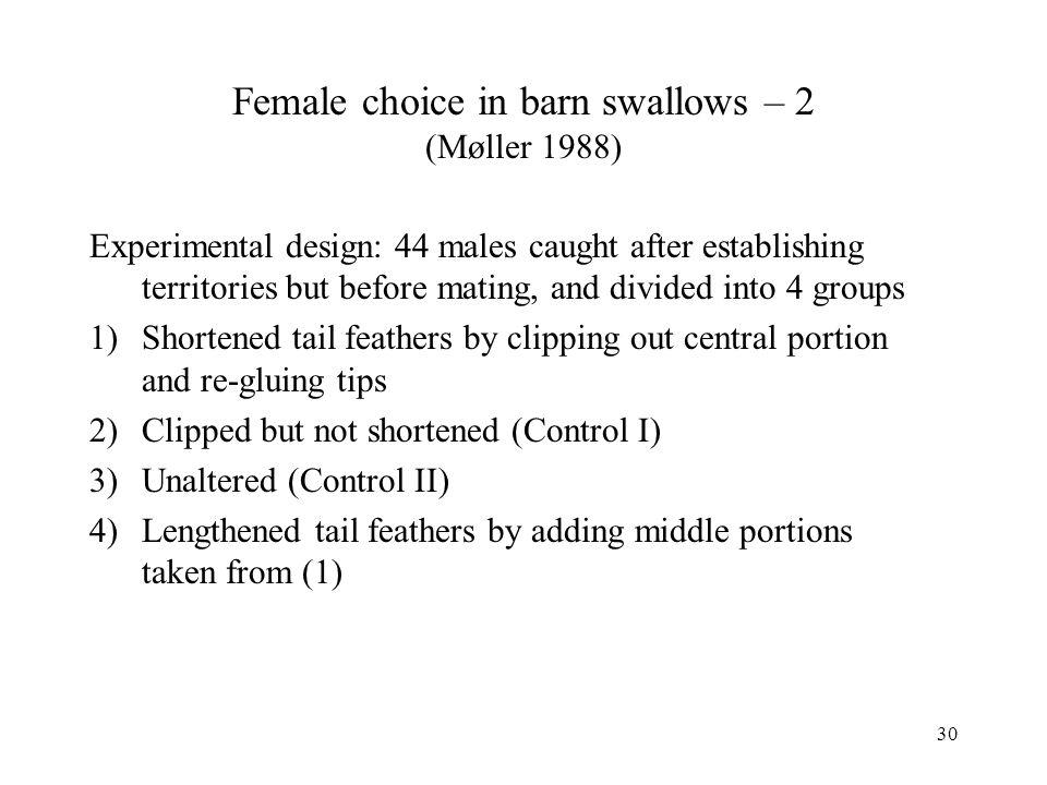 Female choice in barn swallows – 2 (Møller 1988)