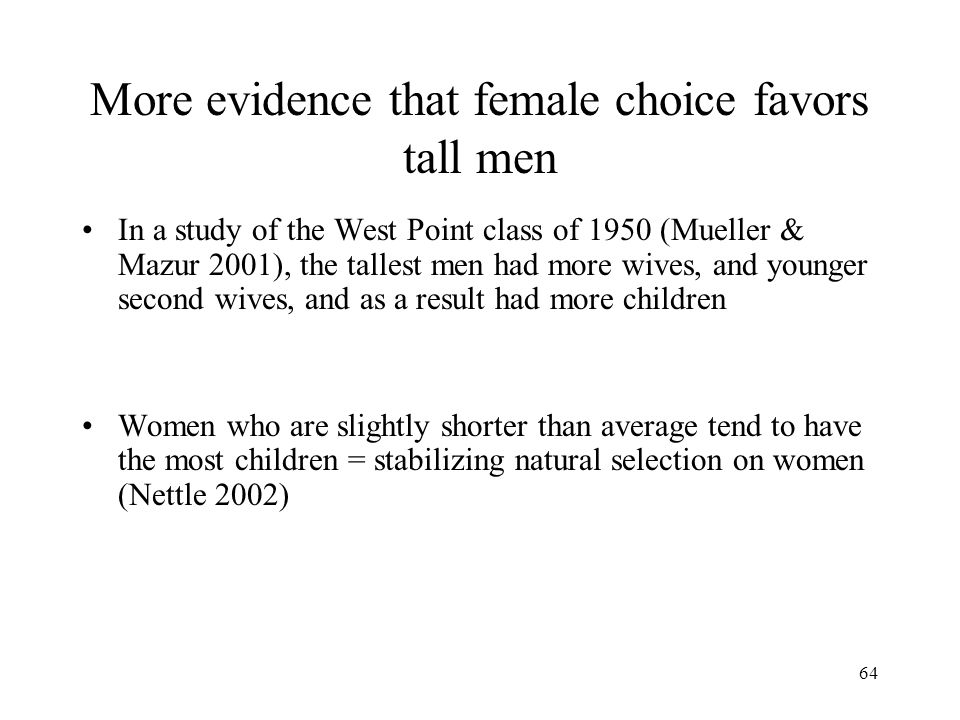 More evidence that female choice favors tall men