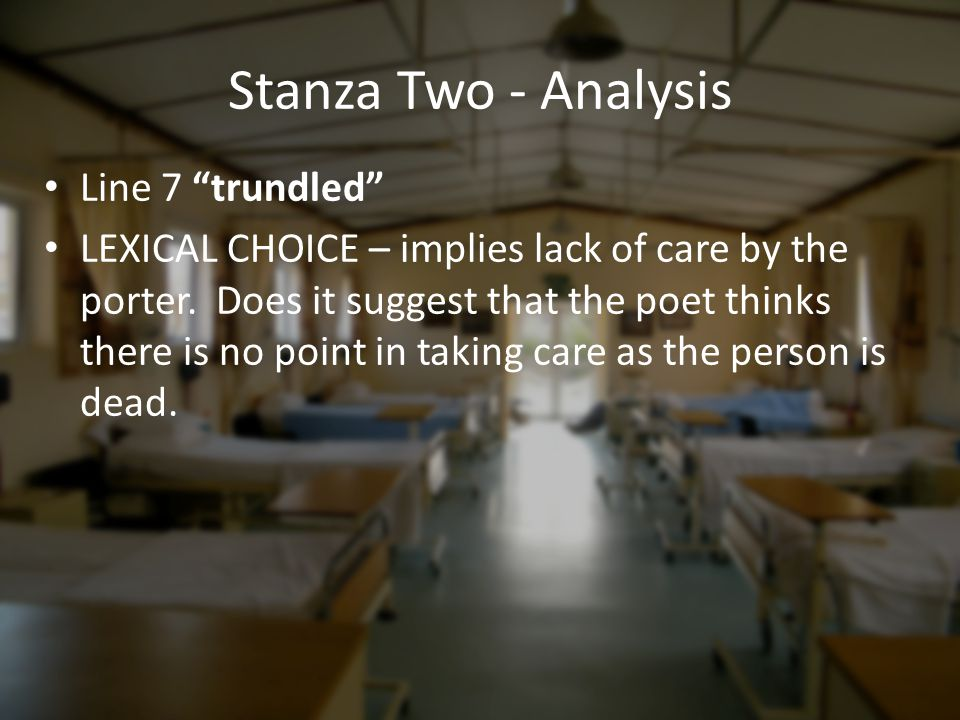 Stanza Two - Analysis Line 7 trundled