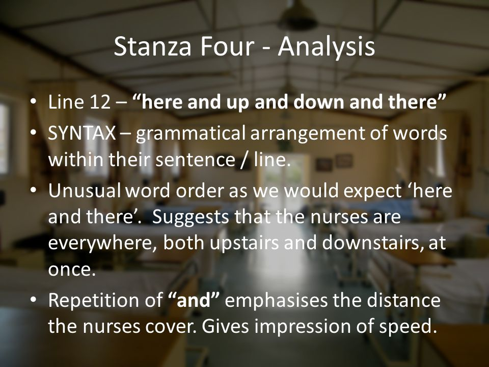 Stanza Four - Analysis Line 12 – here and up and down and there