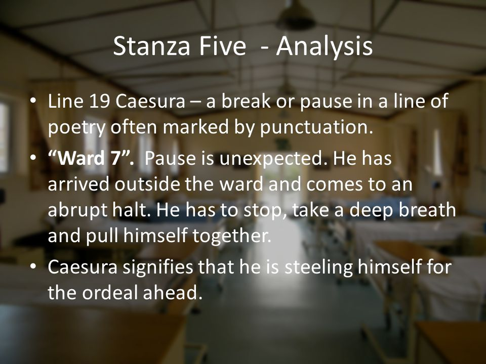Stanza Five - Analysis Line 19 Caesura – a break or pause in a line of poetry often marked by punctuation.