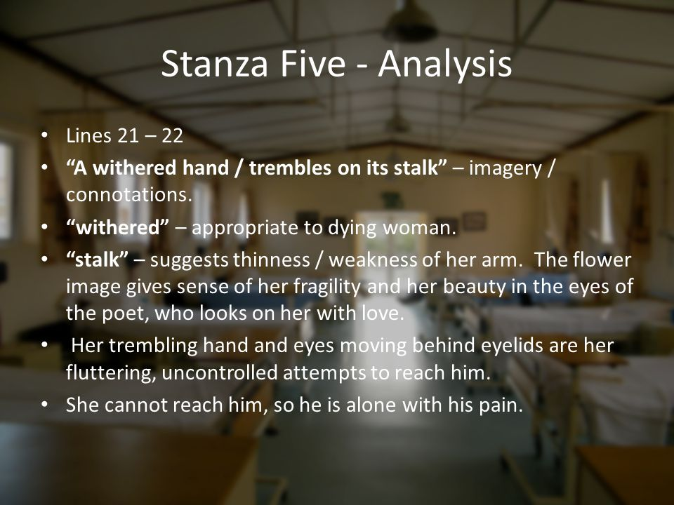 Stanza Five - Analysis Lines 21 – 22