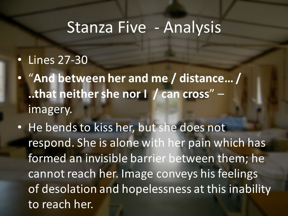 Stanza Five - Analysis Lines 27-30