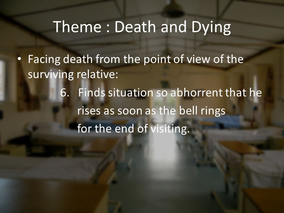Theme : Death and Dying Facing death from the point of view of the surviving relative: 6. Finds situation so abhorrent that he.