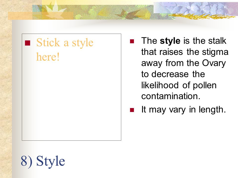 8) Style Stick a style here!