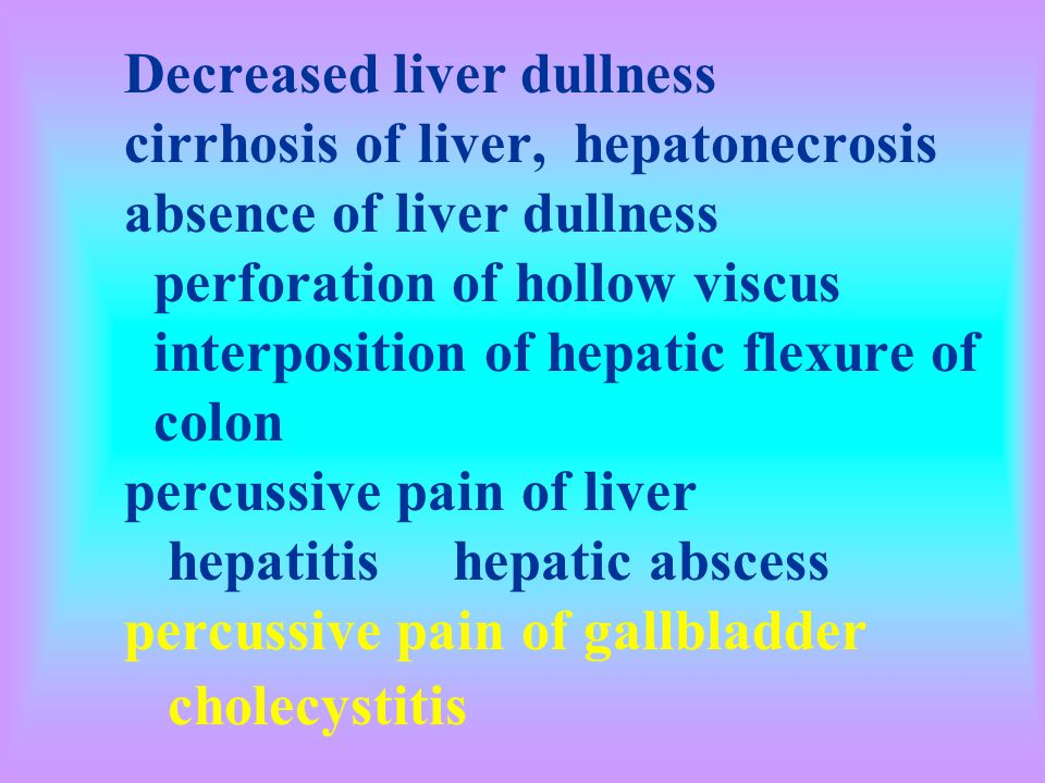 Decreased liver dullness cirrhosis of liver, hepatonecrosis absence of liver dullness perforation of hollow viscus interposition of hepatic flexure of colon percussive pain of liver hepatitis hepatic abscess percussive pain of gallbladder cholecystitis