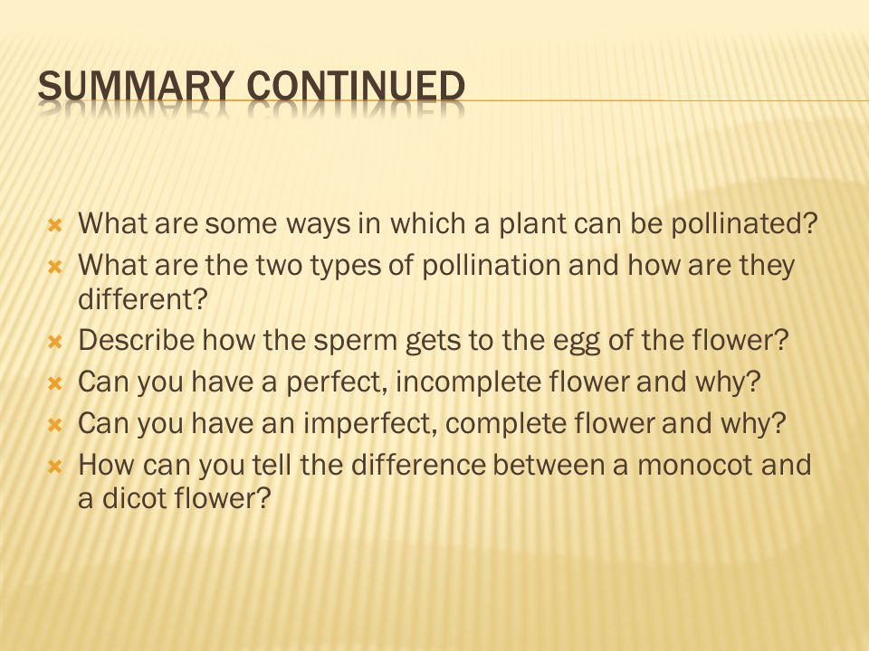 Summary continued What are some ways in which a plant can be pollinated What are the two types of pollination and how are they different