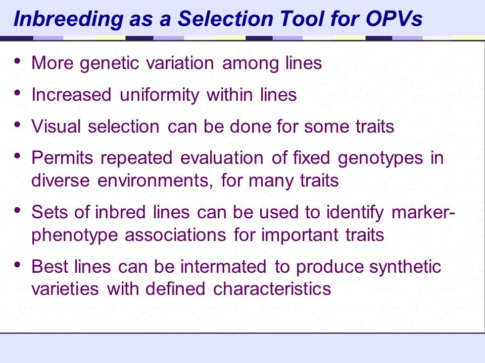 Inbreeding as a Selection Tool for OPVs