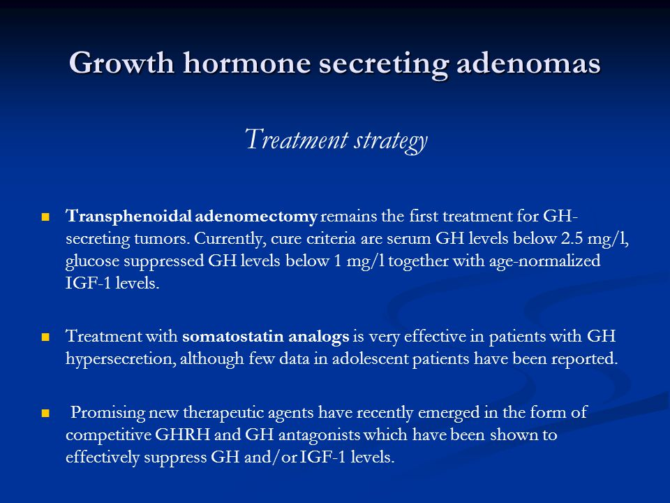 Growth hormone secreting adenomas