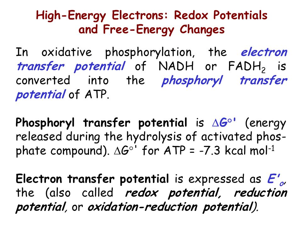 High-Energy Electrons: Redox Potentials and Free-Energy Changes