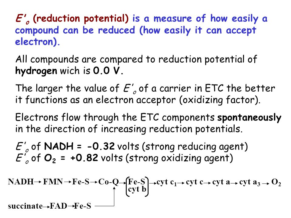 E o (reduction potential) is a measure of how easily a compound can be reduced (how easily it can accept electron).