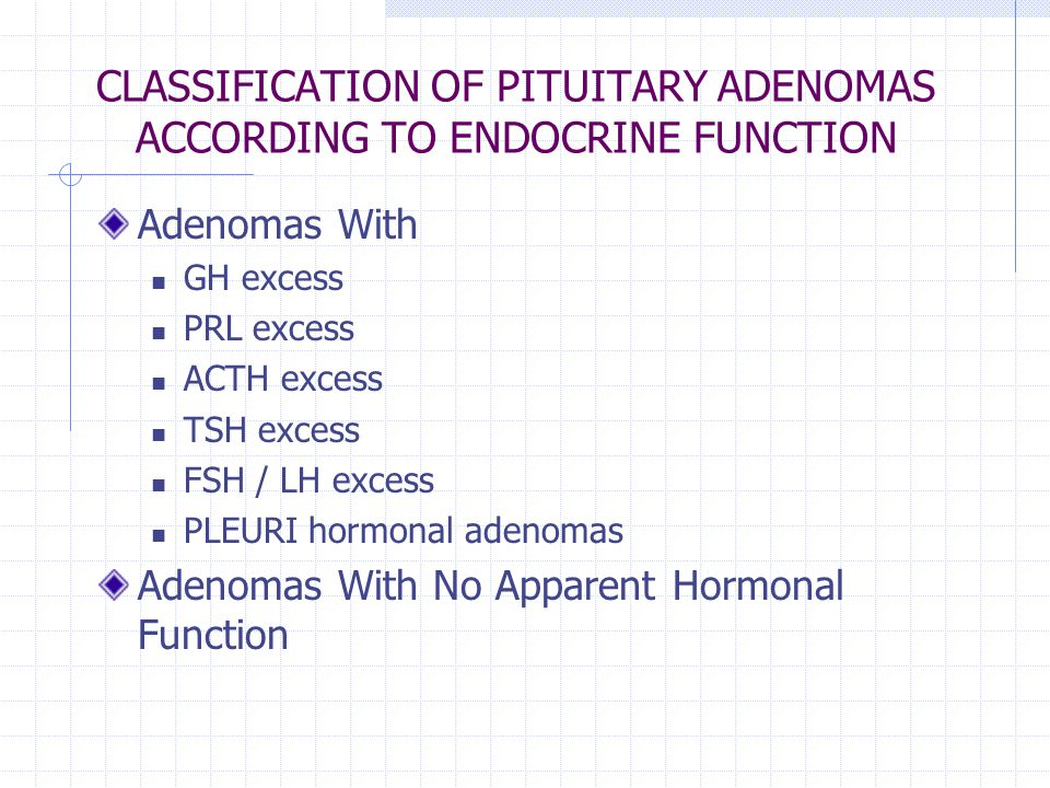 CLASSIFICATION OF PITUITARY ADENOMAS ACCORDING TO ENDOCRINE FUNCTION
