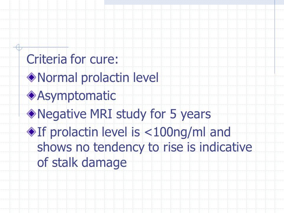 Criteria for cure: Normal prolactin level. Asymptomatic. Negative MRI study for 5 years.