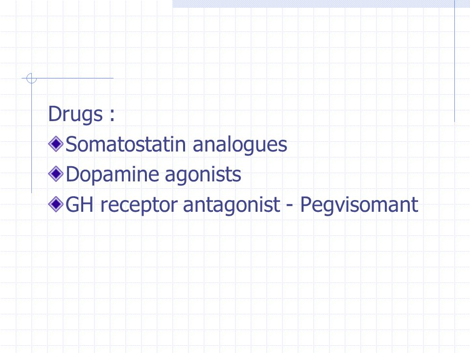 Drugs : Somatostatin analogues Dopamine agonists GH receptor antagonist - Pegvisomant
