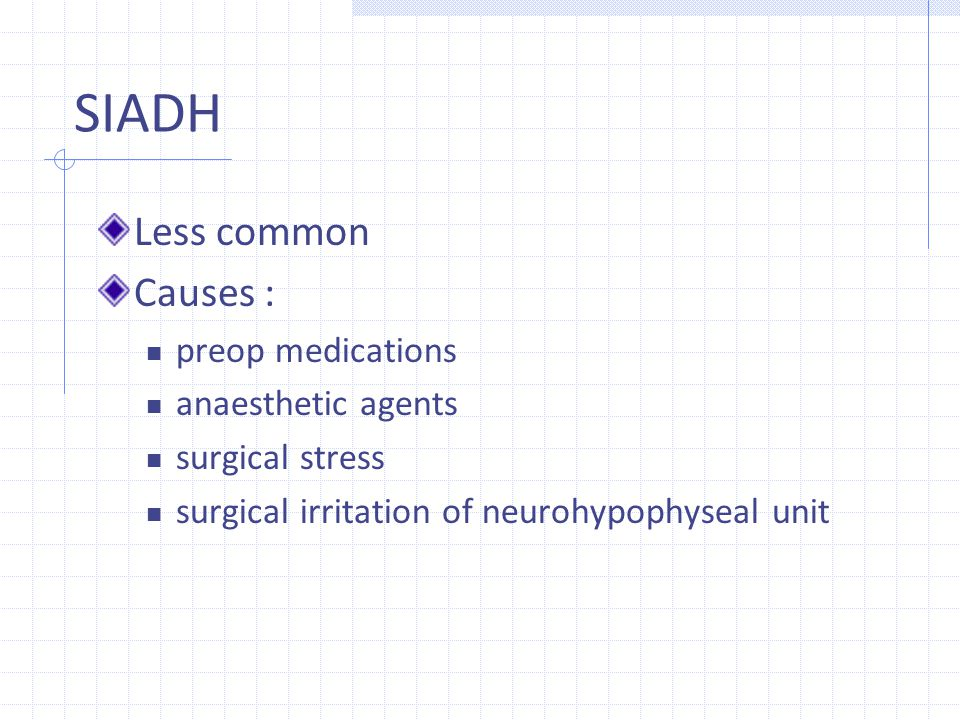 SIADH Less common Causes : preop medications anaesthetic agents