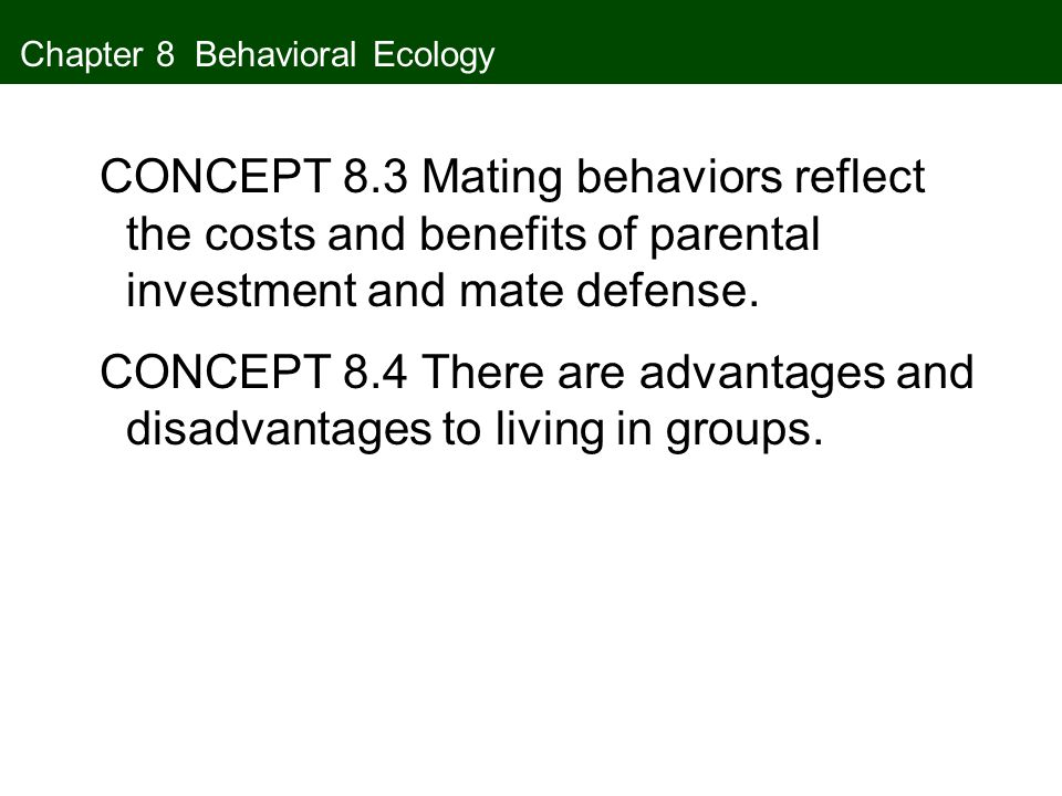 Chapter 8 Behavioral Ecology