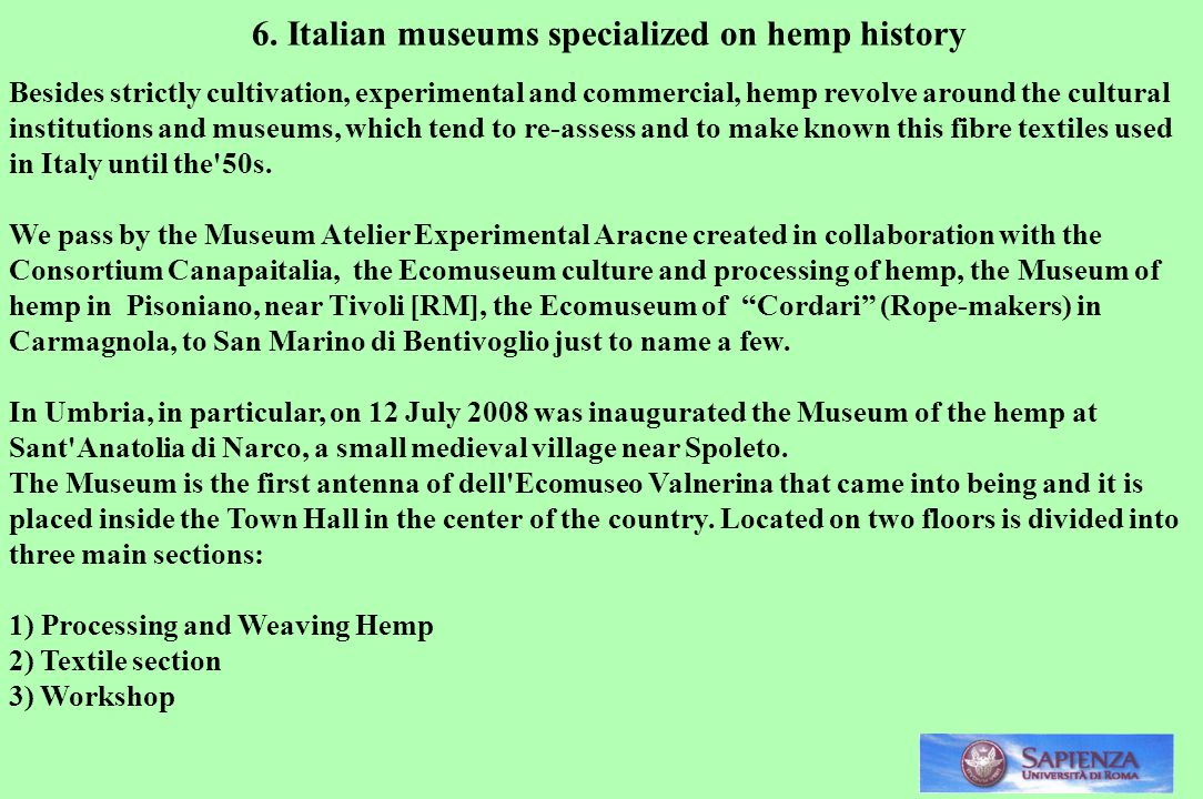 6. Italian museums specialized on hemp history