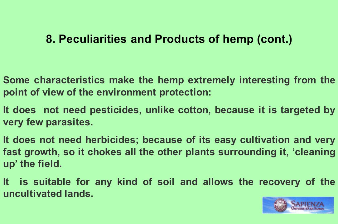 8. Peculiarities and Products of hemp (cont.)