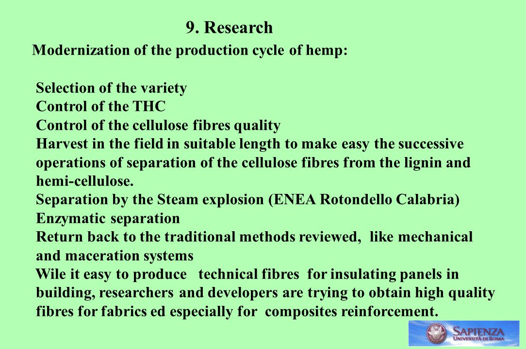 Modernization of the production cycle of hemp: