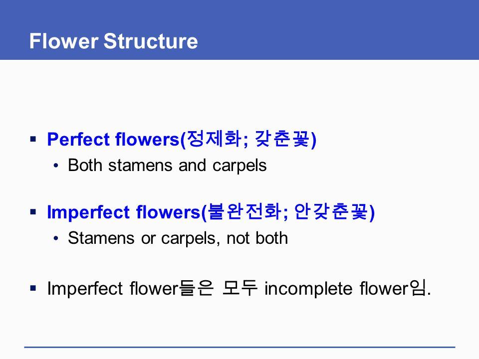 Flower Structure Perfect flowers(정제화; 갖춘꽃)