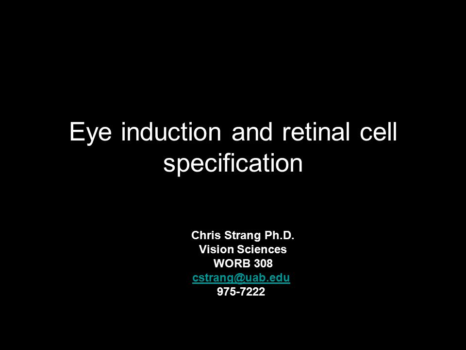 Eye induction and retinal cell specification