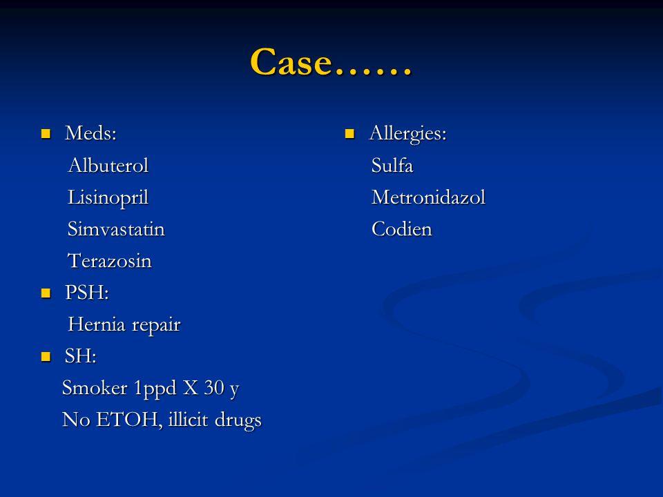 Case…… Meds: Albuterol Lisinopril Simvastatin Terazosin PSH: