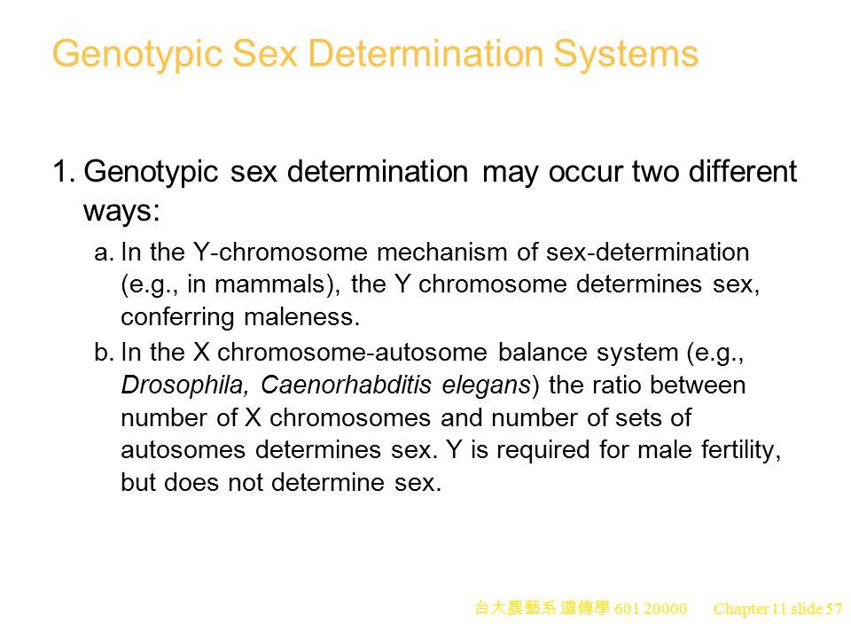 Genotypic Sex Determination Systems