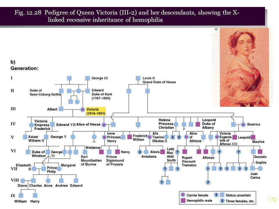 Fig. 12.28 Pedigree of Queen Victoria (III-2) and her descendants, showing the X- linked recessive inheritance of hemophilia