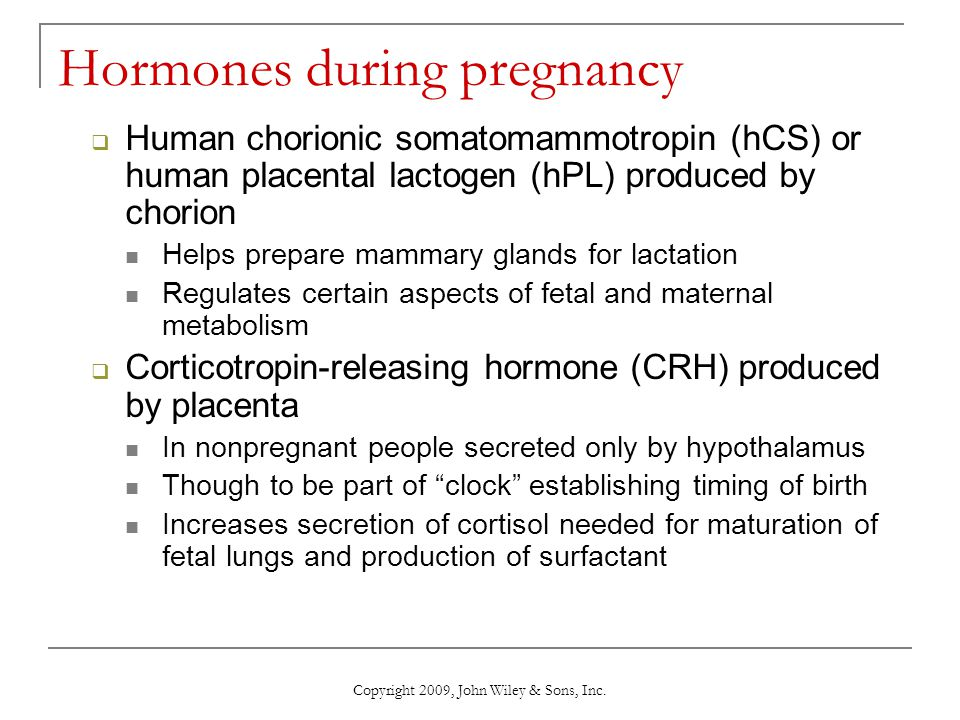 Hormones during pregnancy