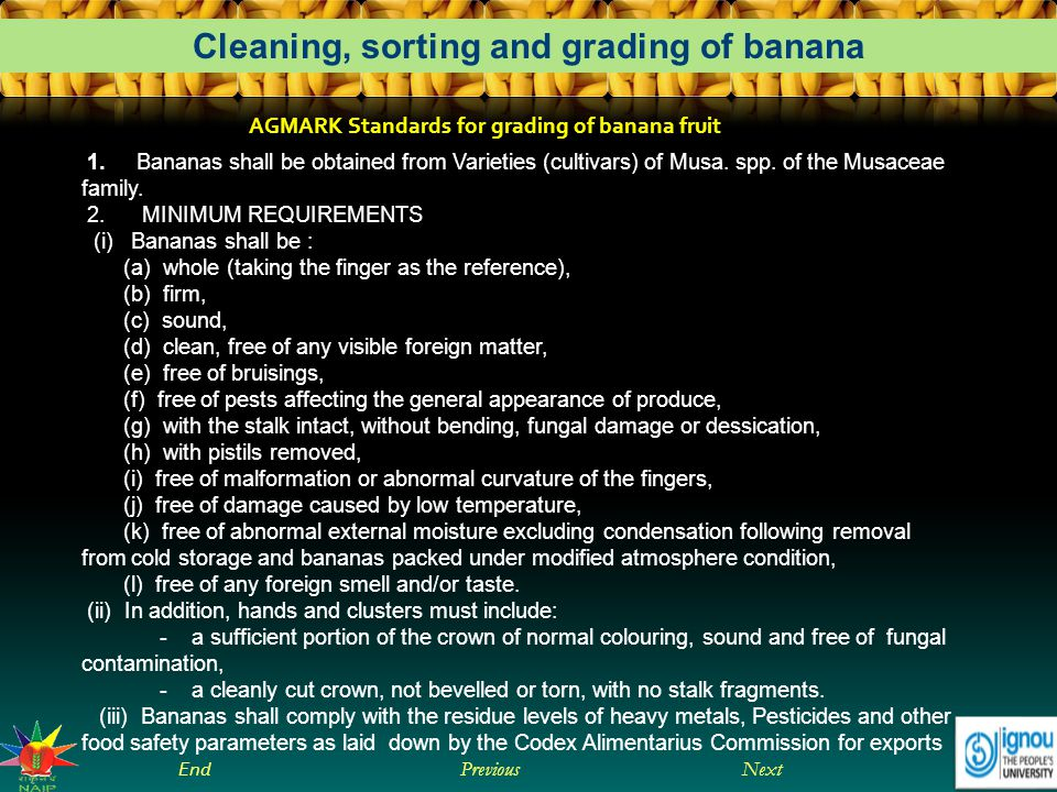 AGMARK Standards for grading of banana fruit