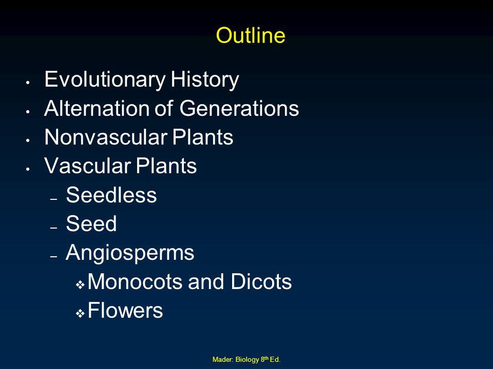 Alternation of Generations Nonvascular Plants Vascular Plants Seedless