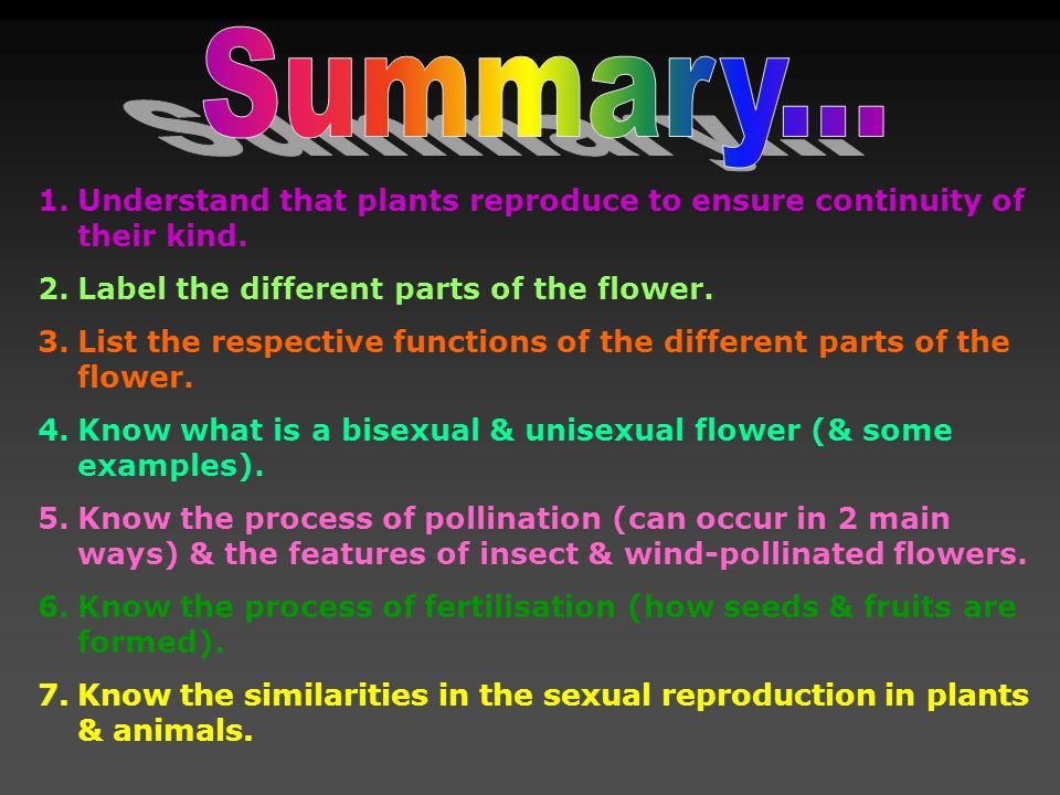 Summary... Understand that plants reproduce to ensure continuity of their kind. Label the different parts of the flower.