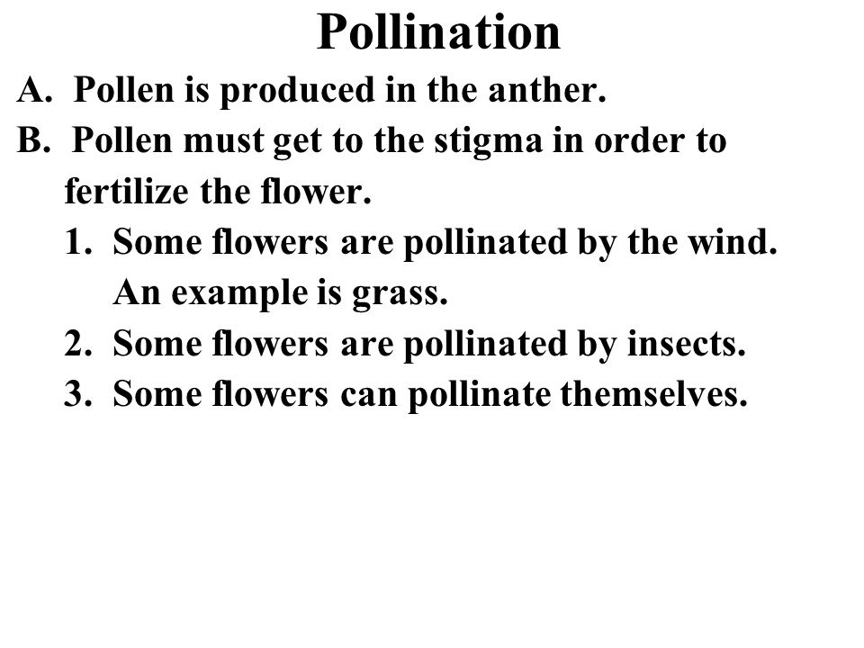 Pollination A. Pollen is produced in the anther.
