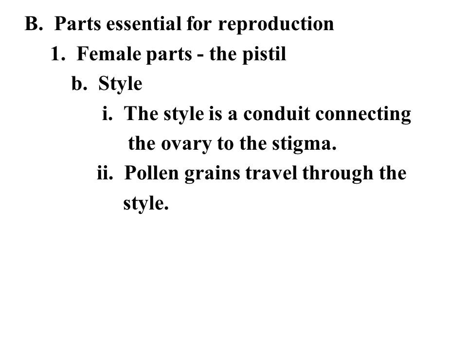 B. Parts essential for reproduction