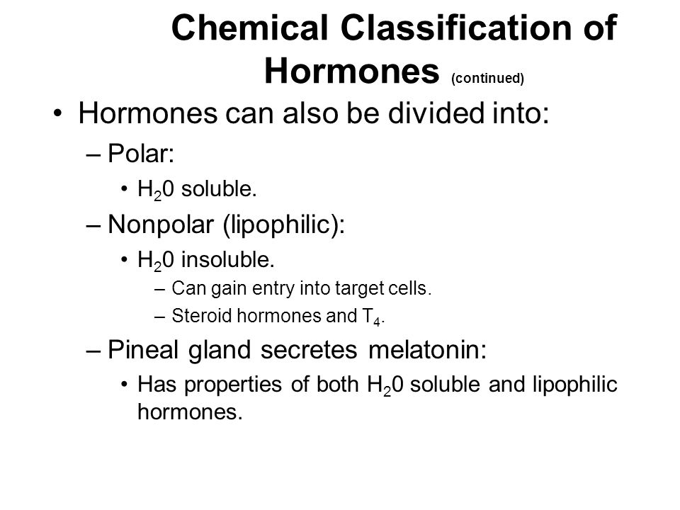 Chemical Classification of Hormones (continued)